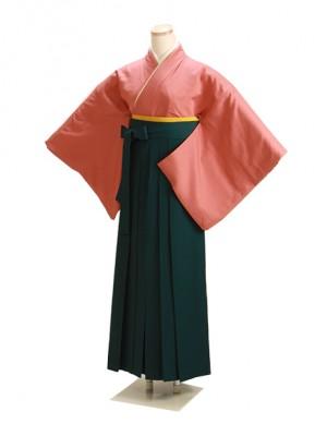 卒業式袴 正絹 レンガ L104 緑袴【身長155cm位】