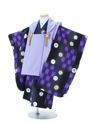 七五三(3男)T305黒×紫・家紋風着物/紫無地(