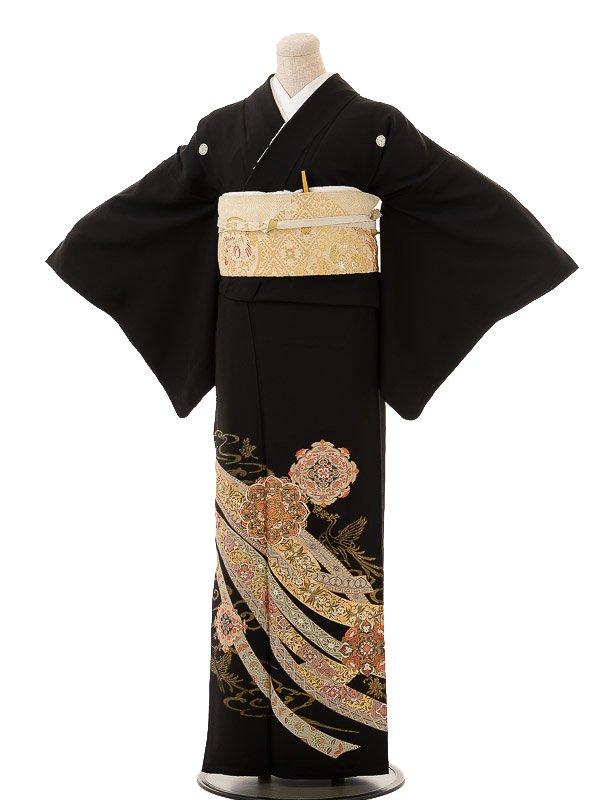 夏黒留袖th002熨斗に正倉院文様〔単衣〕