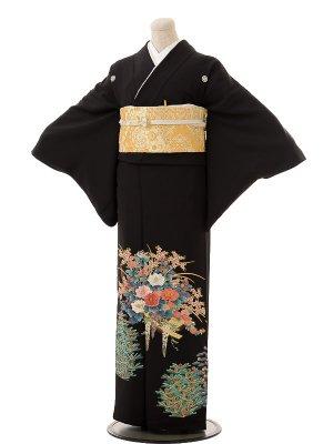 夏黒留袖th008花いかだに新松〔単衣〕