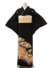 夏黒留袖th010花扇に新松〔単衣〕