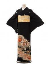 夏黒留袖th003花車に枝垂れ桜〔単衣〕