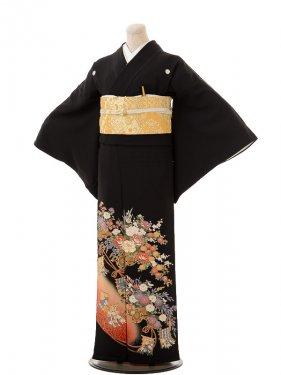 夏黒留袖th012花車に御簾(みす)〔単衣〕