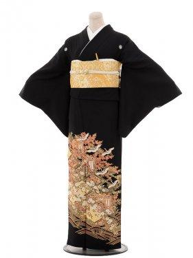 夏黒留袖th013御所車に花菱紋〔単衣〕