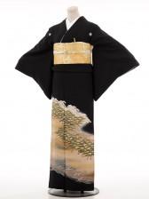 夏黒留袖th018浜辺の林〔単衣〕
