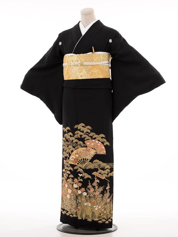 夏黒留袖thl002扇面に四季花〔単衣〕