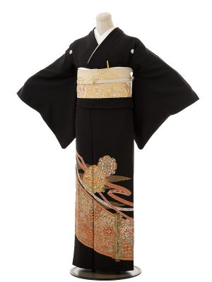 夏黒留袖th004熨斗に正倉紋〔単衣〕