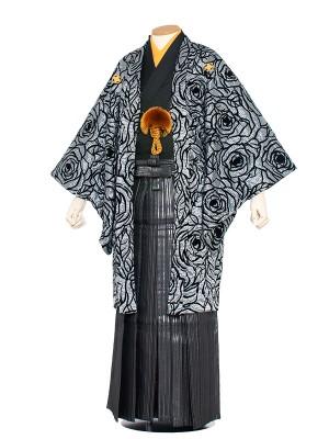 男性用袴 紋服4号 グレーベロア・黒バラ柄(オリジナル)/4A03