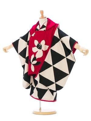 七五三(3歳女)EH334E モダンアンテナ 赤 黒×白 ウロコ柄