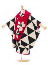 七五三(3歳女)H334D モダンアンテナ 赤 黒×白