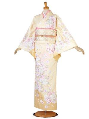 レンタル 訪問着 黄系 クリーム 桜 牡丹
