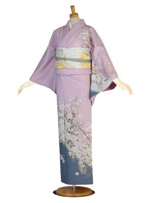レンタル 訪問着 フルセット 着物 薄紫 青 桜 牡丹 あやめ