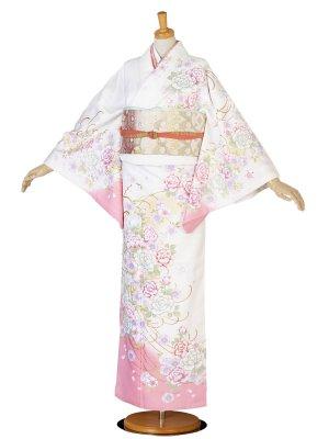 レンタル 訪問着 白 ピンク 牡丹 桜