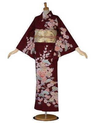 訪問着 レディース着物 牡丹 松 桜