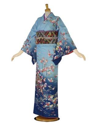 レンタル 訪問着 青系 水色 紺 桜