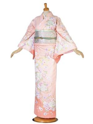 レンタル 訪問着 桃色 ピンク 牡丹 桜