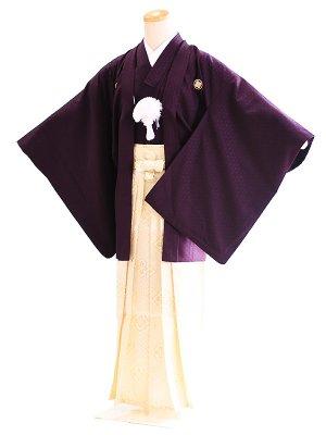 ジュニア袴男010濃い紫|白金/菱