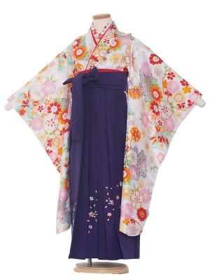 女児袴(7女)0008 白地花模様×紫袴