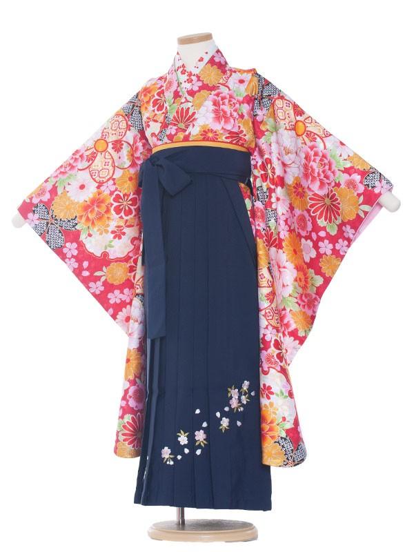 七五三・卒園式袴レンタル(7女)0005 赤地花模様×紺袴