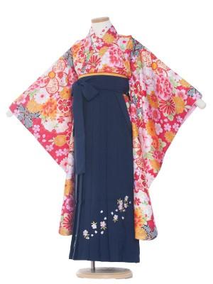 女児袴(7女)0005 赤地花模様×紺袴