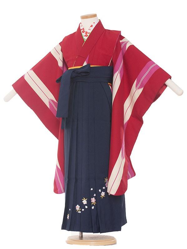七五三・卒園式袴レンタル(7女)0003 赤矢絣×紺袴