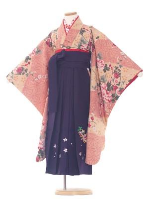 女児袴(7女)0075 ベージュ系/紫袴