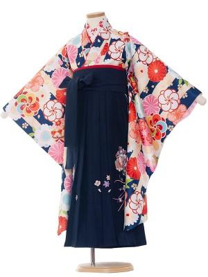 女児袴(7女)0115 紺変わりストライプ/卒園袴