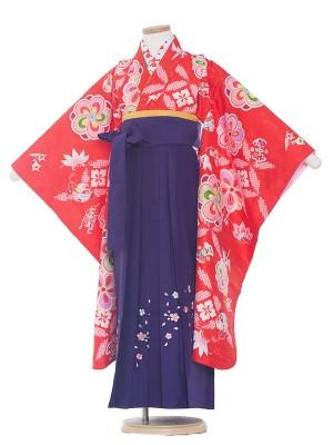 女児袴(7女)0018 赤×紫袴