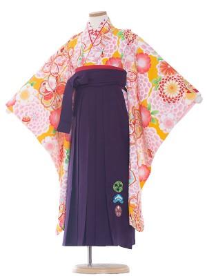女児袴(7女)0086 オレンジ/紫袴