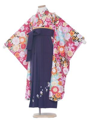 女児袴(7女)0013 赤地桜×紺地