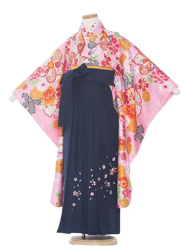 女児袴(7女)0009 ピンク地花模様×紺袴