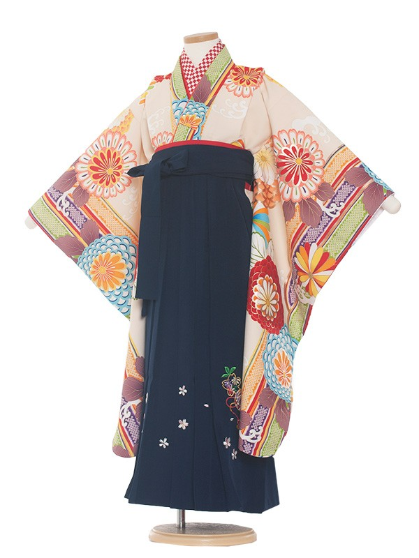 女児袴(7女)0028 クリーム古典×紺袴