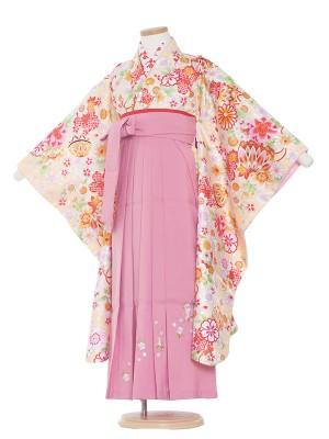 女児袴(7女)0011 黄色地小花×ピンク袴