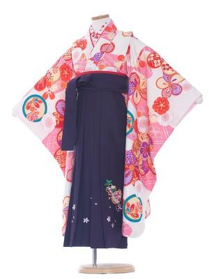 女児袴(7女)0079 ピンク・白/紫袴