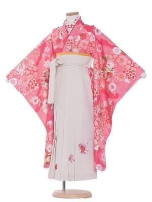 女児袴(7女)0033 花柄×白袴