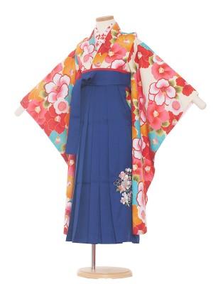 女児袴(7女)0039 オフホワイト/椿/青袴