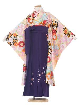 女児袴(7女)0007 黄色地花模様×紫袴