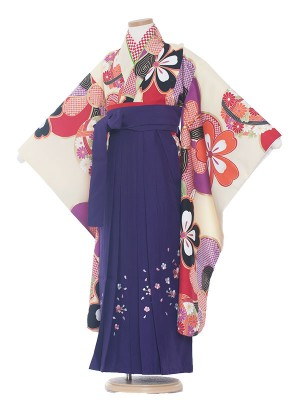 女児袴(7女)0024 絞り風×紫袴