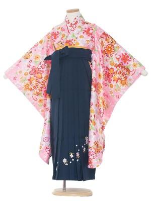 女児袴(7女)0006 ピンク地花模様×紺袴