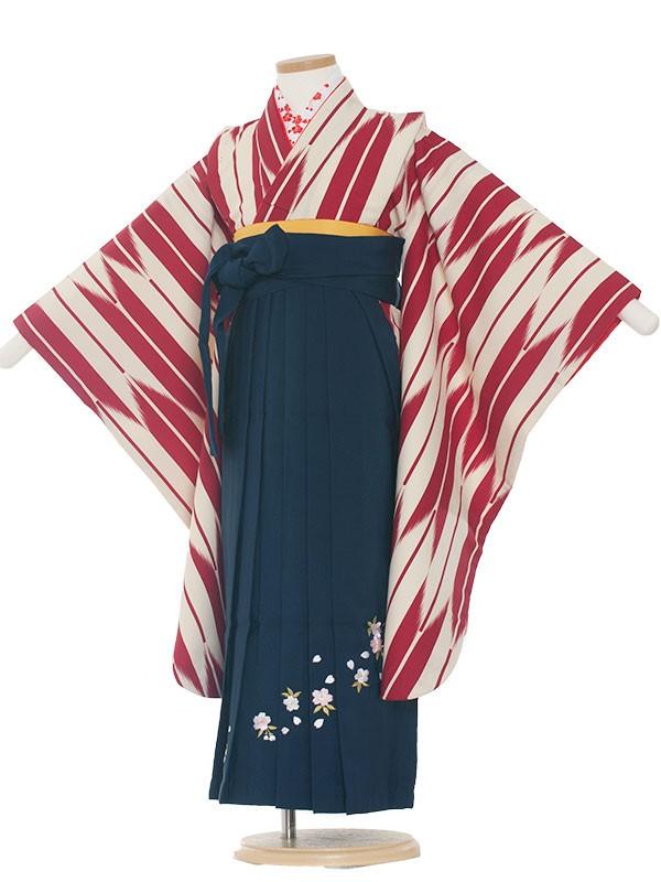 七五三・卒園式袴レンタル(7女)0001 赤矢絣×紺袴