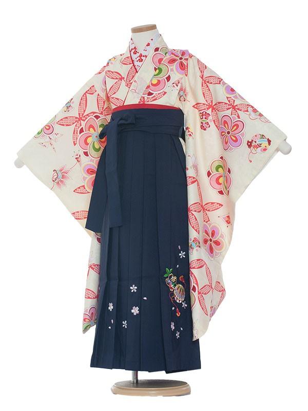 七五三(7女袴)0022 クリーム×紺袴