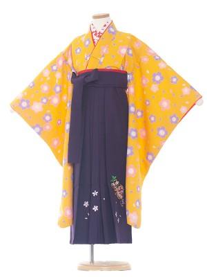 女児袴(7女)0074 黄/紫袴