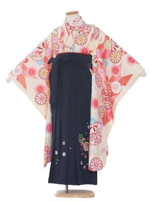 女児袴(7女)0021 クリーム×紺袴