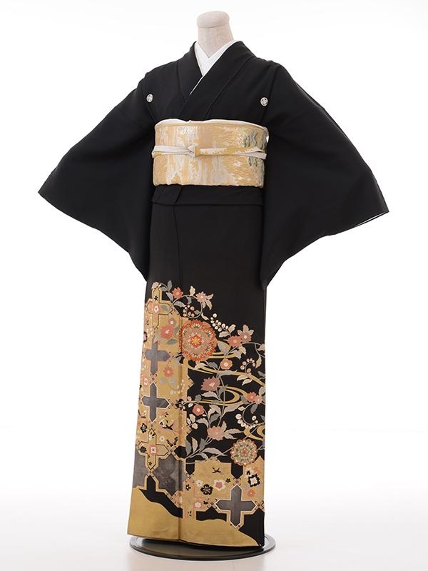 黒留袖レンタル2024オシャレ菊十字星ゴールド