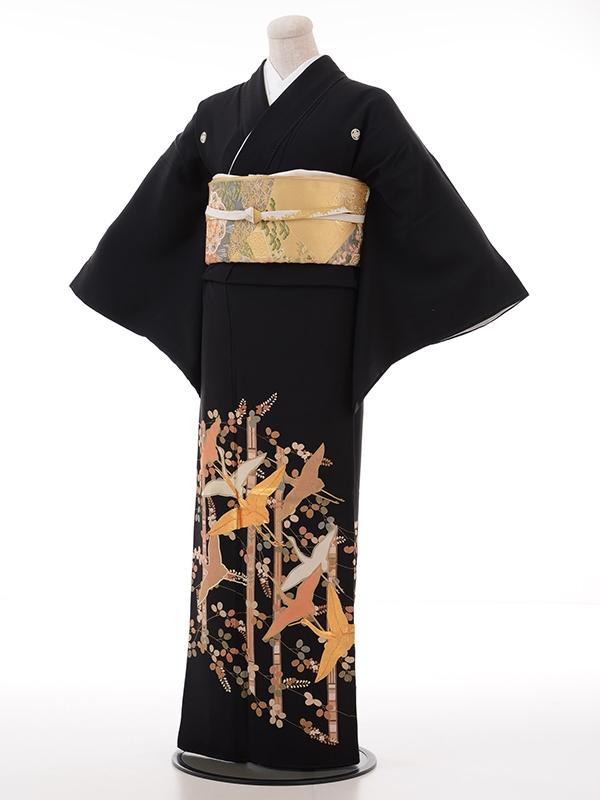 黒留袖レンタル2022竹ゴールド鶴萩