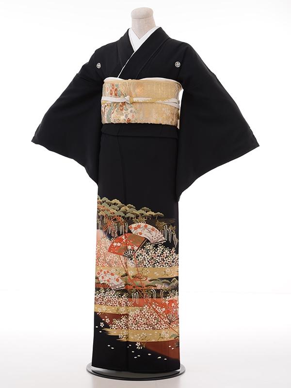 黒留袖レンタル2015扇面かすみ桜
