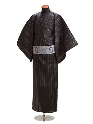 浴衣 男性 Lサイズ Y115 黒茶縞柄