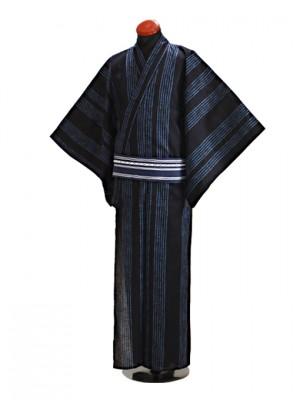 浴衣 男性 Lサイズ Y120 黒紺たて縞