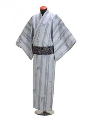 浴衣 男性 Lサイズ Y107 うすグレー/燕