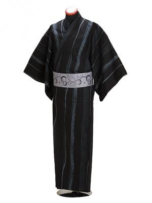 浴衣 男性 Lサイズ Y108 黒グレー/縞かすり